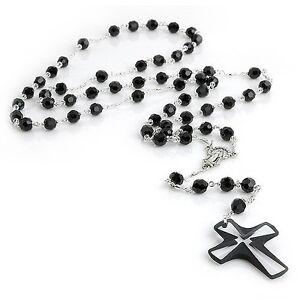 6mm Swarovski Bead Crystal Necklace Rosary - Black, White, Red