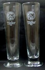 TIGER PILSNER SINGAPOREAN BEER GLASSES/PAIR - Collectible - Rare 0.3L
