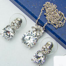"""Russian Cubic Zirconia Stud & Solitaire .925 Sterling Silver Chain 16""""-17"""""""