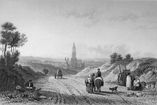 NETHERLANDS - AMERSFOORT from the ROAD to UTRECHT - Engraving from 19th century