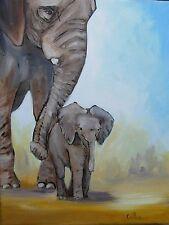 Tableau original de Caillon éléphant éléphanteau toile huile peinture