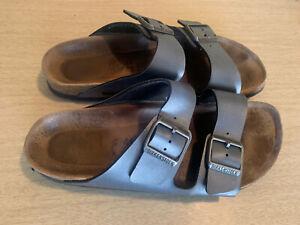 Women's Unisex Birkenstock Sandals Size 41 Metallic Pewter Dark Silver