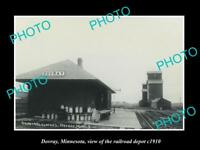 OLD LARGE HISTORIC PHOTO OF DOVRAY MINNESOTA, THE RAILROAD DEPOT STATION c1910