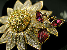 Signed Swarovski Flower With Butterfly Crystal Pin~Brooch Retired Rare New / Box