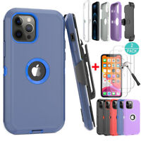 For iPhone 12,12 Pro Max Phone Armor Case Hard Belt Clip Cover+Screen Protector