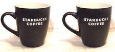 X 2 New~Starbucks White block Logo 2010 Cup Mug 12oz Dark Chocolate Mocha Brown
