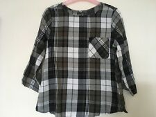 MARKS & SPENCER Ladies Black White and Olive Check Blouse Top Size 8 petite BNWT