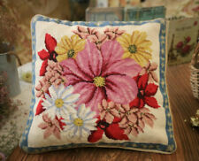 2 Avail -100 Wool Roses Floral Gingham Check Handmade Needlepoint Pillow 18 X18