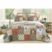 Classic Jacobean Garden Colored Patchwork Quilt Coverlet 3 pcs King Queen Set