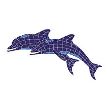 Twin Dolphins Ceramic Swimming Pool Mosaic