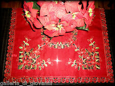 """Red Poinsettia 33"""" Table Topper Lace Christmas Doily Green"""