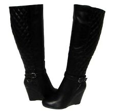 Women's Fashion Boots Black Wedge Shoes Knee High Winter Snow Ladies size 8