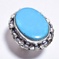 925 Sterling Silver Overlay Ring Size UK P 1/2, Turquoise Women Jewelry PR963