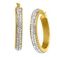 Crystaluxe Hoop Earrings w/ Swarovski Crystals in 14K Gold over Sterling Silver