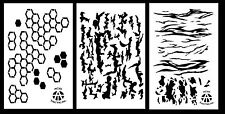 "3Pack! Spray Paint Camouflage Stencils 14"" - Tree Bark Hexacam Tiger Stripe Camo"