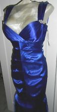 JUMP APPAREL SEXY BLUE SATIN FULL LENGTH MERMAID DRESS ~ SIZE 3/4 NWT