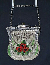 Beautiful Victorian Silver Red Green Black Color Glass Beaded Bag
