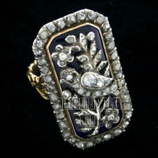 Diamond Enamel Pretty Bird Ring Jewelry Victorian Style 3.25cts Genuine Rose Cut