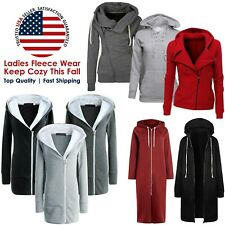 Women Ladies Casual Full Long Zip up Fleece Hoodie Sweatshirt Tops Hooded Jacket