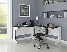 White Gray 2 Piece L-Shape Desk Set Collection Home Office Living Furniture