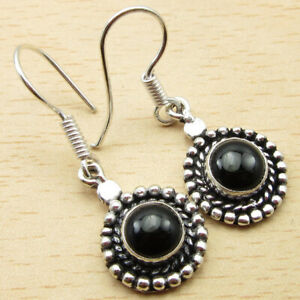 New Black Onyx Earrings 3.6 cm 925 Silver Plated Engagement Jewelry Collection