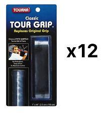 Tourna Tennis Racquet Replacement Grip Sampras Tour Grip 1.8 Mm Black (12-Pack)