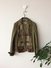 Carla Carini Unusual Olive Green Jacket With Lapin Fur And Leather Details S Vgc