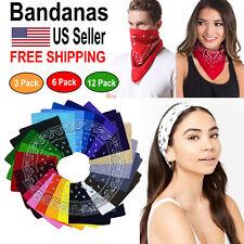 3-6-12 pcs Bandana Scarves Paisley Head Face Mask Wrap Scarf 100% Cotton