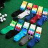1Paar Herren Baumwollmischung Weiche Socken Warm Bunte Diamant Casual-Socke Q2W5