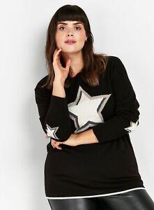 Evans Womens Black Star Jumper Long Sleeve Knitwear Top Blouse Round Neck