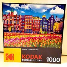 Kodak Premium Puzzle Cra-Z-Art 1000 Piece Old Buildings & Tulips In Amsterdam
