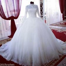 Long Sleeve High Neck Bridal Dress Lace Wedding Dress Pearls Beading Ball Gown+
