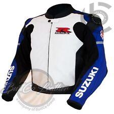 New SUZUKI 1078 Blue White Leather Jacket Motorcycle Racing Motorbike Biker Coat