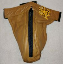 Men's Real Leather Brown/tan zip Jock Strap Brief G-String Thong Underwear (8E)