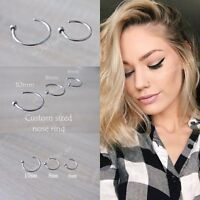 Surgical Steel Thin Small Silver Open Nose Ring Hoop 0.6mm Cartilage Nose Stud