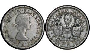 1 Crown 1953 Southern Rhodesia  (Zimbabwe) Silver Coin / King George VI # 27
