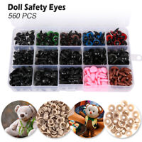560pcs Safety Eyes Noses Washers Black 6-14mm fr Teddy Bear Doll Toys Making DIY