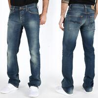 B-Ware - Nudie Herren Slim Fit Bootcut Jeans Hose Bootcut Barry Organic Strikey