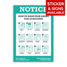 plastique Boards//Vinyle Autocollants Sécurité Avis-se laver les mains-social éloignement