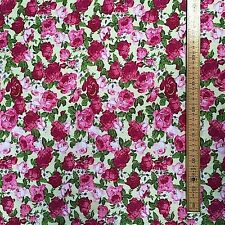 Floral Polycotton Fabric * Bright Beautiful Roses * With Bright Vibrant Colours