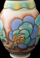 Stylish Carlton Ware Tube Line Flower Pattern Vase - Art Deco - Damaged