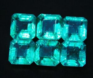 Natural Certified 6 Piece Lot  47 Ct Emerald Loose Gemstone