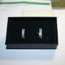 Princess Diamond Alternatives Huggie Small Hoop Earrings White 14k over 925 SS