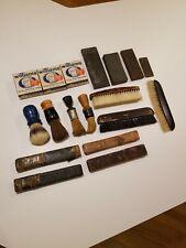 New ListingVintage Shaving Lot -Sharpening Stones Williams Shaving Soap Brushes Razor Boxes