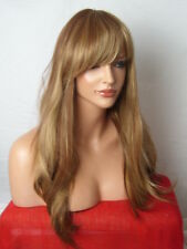 Light Brown Highlight Blonde lady Women long natural wavy fashion costume Wig C9