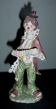 VINTAGE CIRCUS CLOWN HOBO PLAYING ACCORDIAN CERAMIC TINY HAT  RAGGED CLOTHES