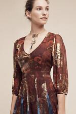NWT Anthropologie Mykonos Maxi Dress by Hemant & Nandita size 2 Wine Gold $598