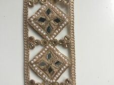 ATTRACTIVE INDIAN ROSE GOLD CUT SQUARES WITH MIRRORS ON FABRIC TRIM/LACE-1 METRE