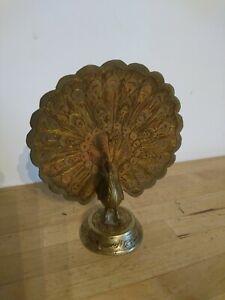 Small Vintage Brass Peacock Figurine Enamelled Mid Century Bird