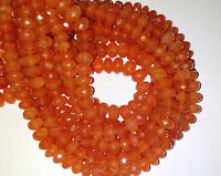 Gorgeous Carnelian Faceted Roundell Gemstone Beads 7-8mm 8 Inch.